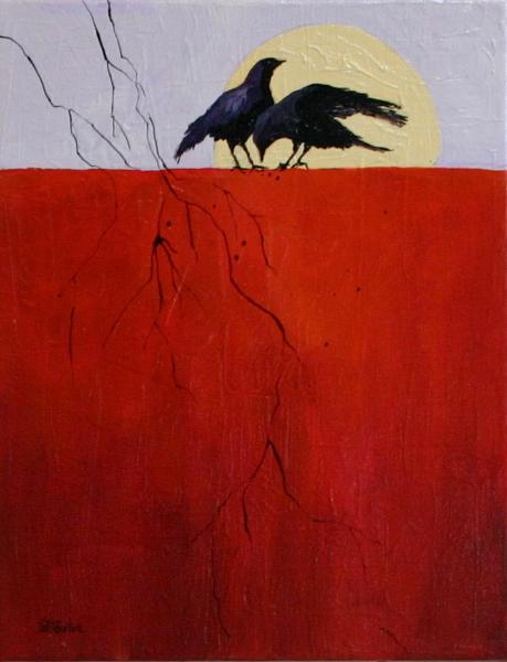 Two Crow with Twigs